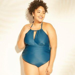 Plus Size 26W NWT Blue Halter Keyhole Swimsuit